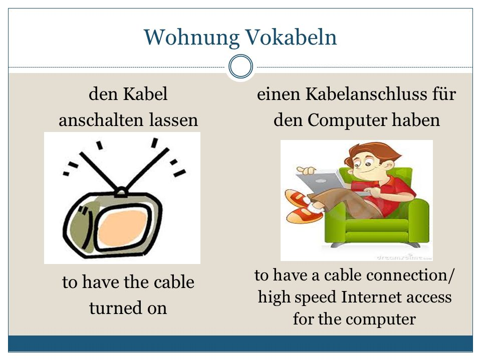 Wohnung Vokabeln einen Kabelanschluss für den Computer haben den Kabel anschalten lassen to have a cable connection/ high speed Internet access for th
