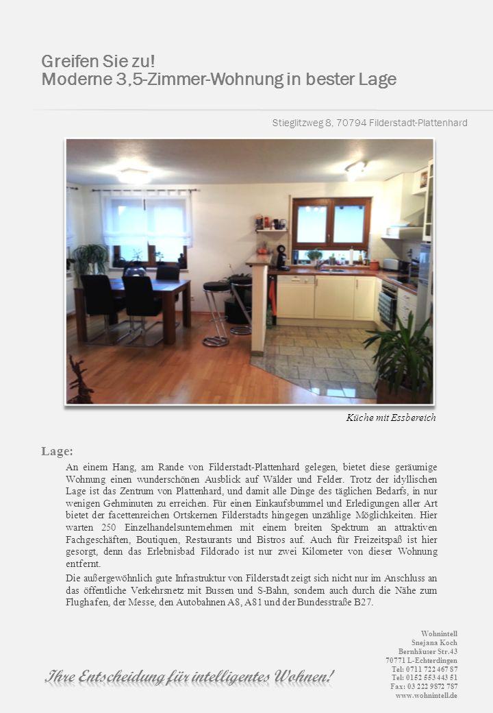 Stieglitzweg 8, 70794 Filderstadt-Plattenhard Lage: An einem Hang, am Rande von Filderstadt-Plattenhard gelegen, bietet diese geräumige Wohnung einen