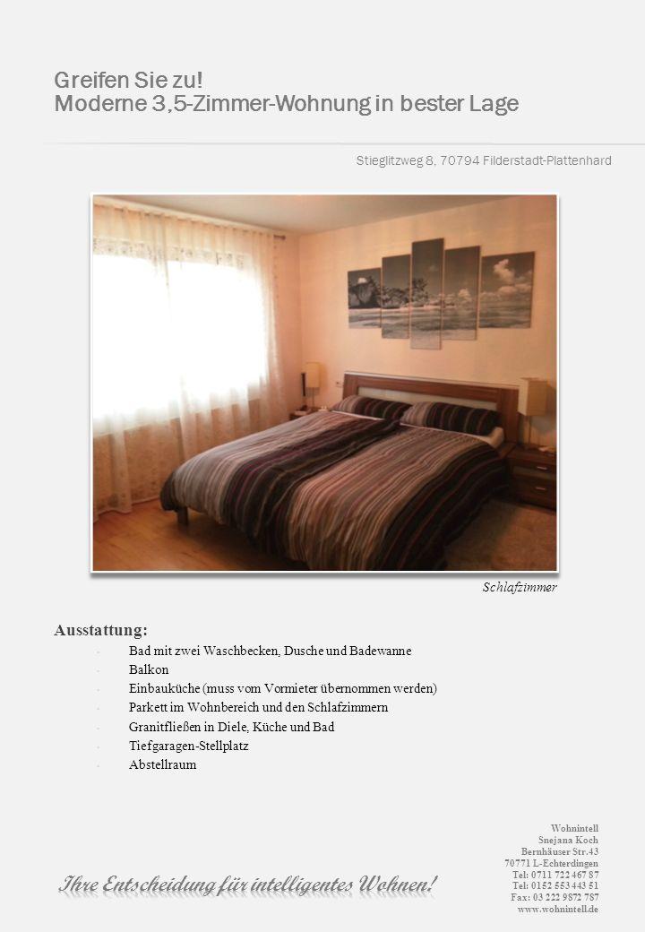Stieglitzweg 8, 70794 Filderstadt-Plattenhard Greifen Sie zu! Moderne 3,5-Zimmer-Wohnung in bester Lage Ausstattung: Bad mit zwei Waschbecken, Dusche