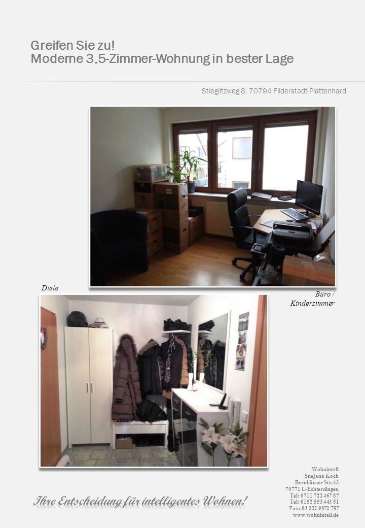 Stieglitzweg 8, 70794 Filderstadt-Plattenhard Greifen Sie zu! Moderne 3,5-Zimmer-Wohnung in bester Lage Büro / Kinderzimmer Diele Wohnintell Snejana K