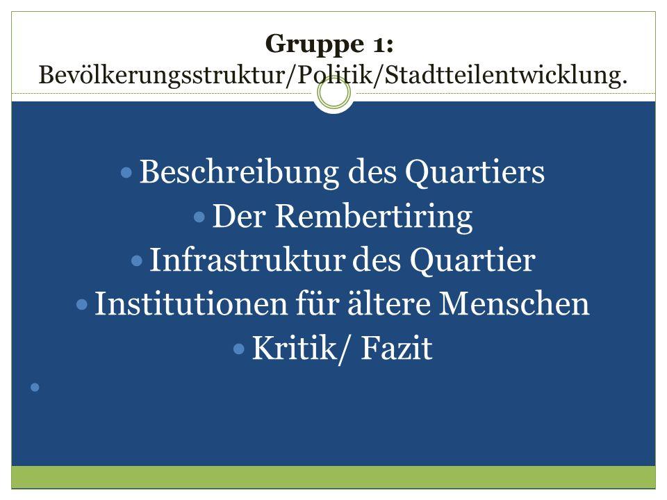 Gruppe 1: Bevölkerungsstruktur/Politik/Stadtteilentwicklung. Beschreibung des Quartiers Der Rembertiring Infrastruktur des Quartier Institutionen für