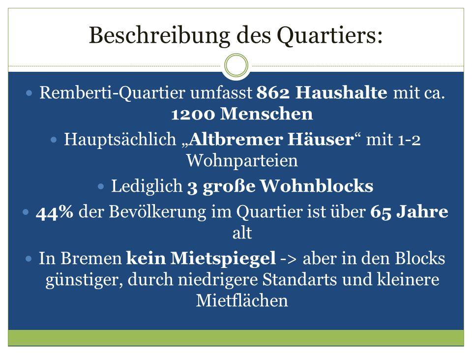 Beschreibung des Quartiers: Remberti-Quartier umfasst 862 Haushalte mit ca. 1200 Menschen Hauptsächlich Altbremer Häuser mit 1-2 Wohnparteien Lediglic