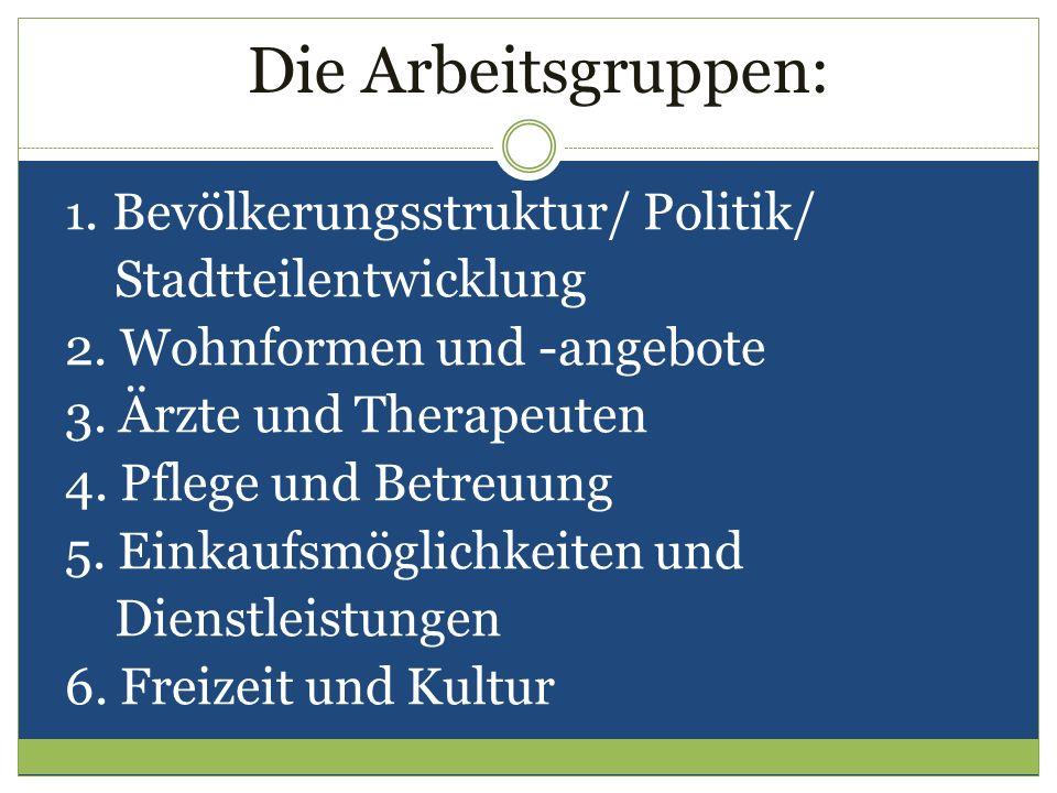 Die Arbeitsgruppen: 1. Bevölkerungsstruktur/ Politik/ Stadtteilentwicklung 2. Wohnformen und -angebote 3. Ärzte und Therapeuten 4. Pflege und Betreuun