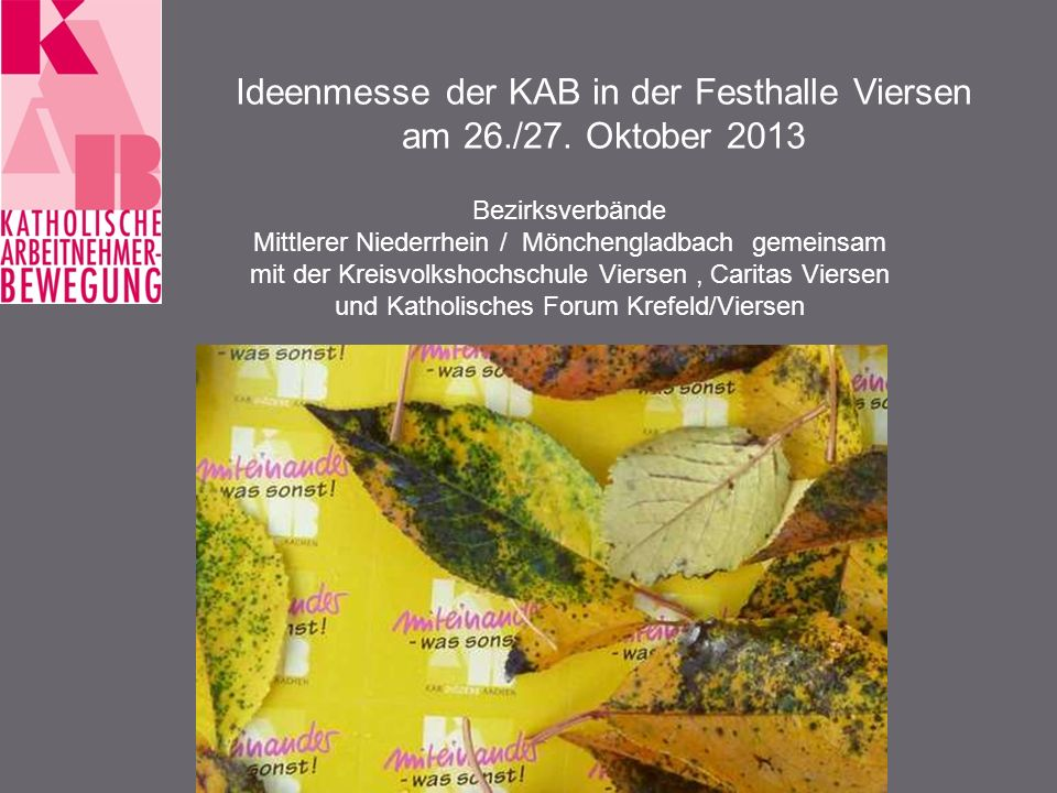 Ideenmesse der KAB in der Festhalle Viersen am 26./27.