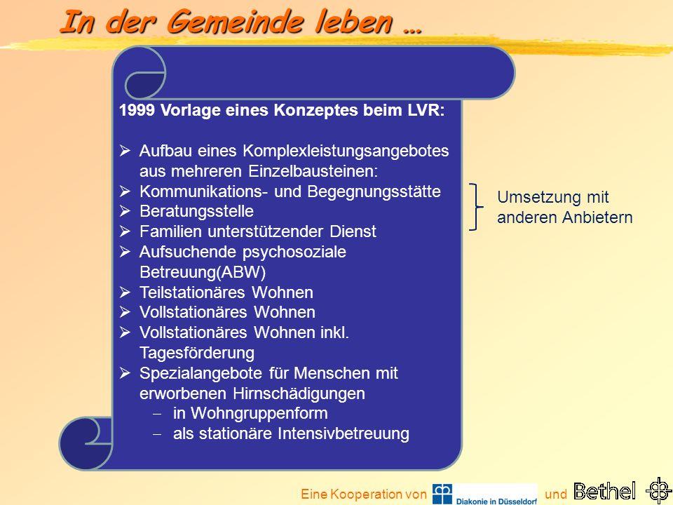 Eine Kooperation von und In der Gemeinde leben … 1999 Vorlage eines Konzeptes beim LVR: Aufbau eines Komplexleistungsangebotes aus mehreren Einzelbaus