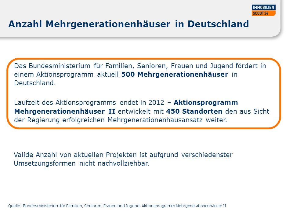 Anzahl Mehrgenerationenhäuser in Deutschland Das Bundesministerium für Familien, Senioren, Frauen und Jugend fördert in einem Aktionsprogramm aktuell 500 Mehrgenerationenhäuser in Deutschland.