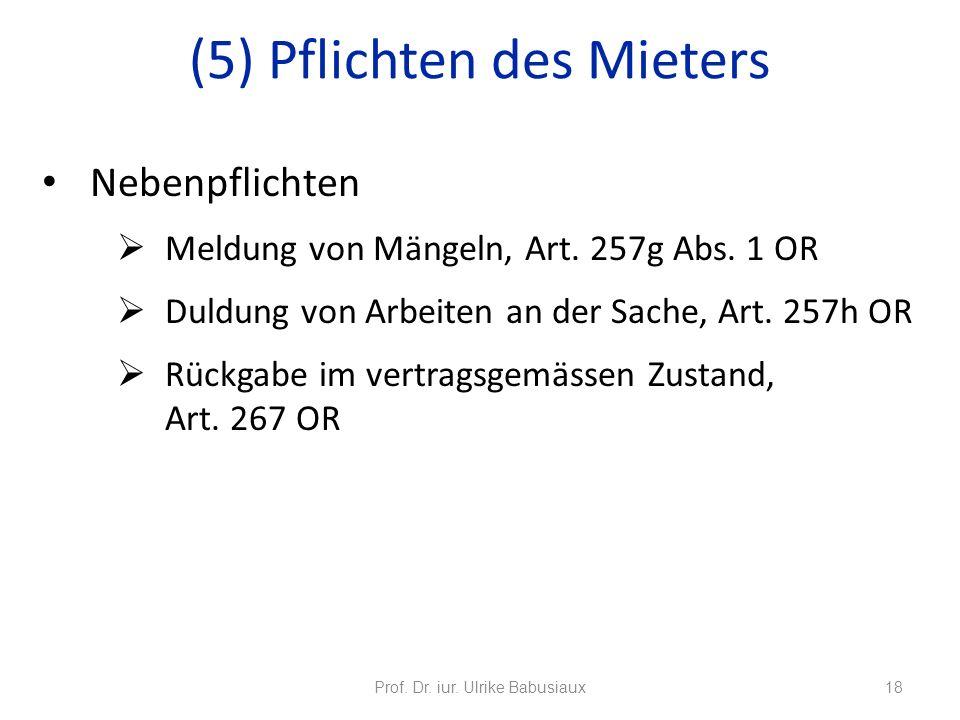 Nebenpflichten Meldung von Mängeln, Art. 257g Abs. 1 OR Duldung von Arbeiten an der Sache, Art. 257h OR Rückgabe im vertragsgemässen Zustand, Art. 267