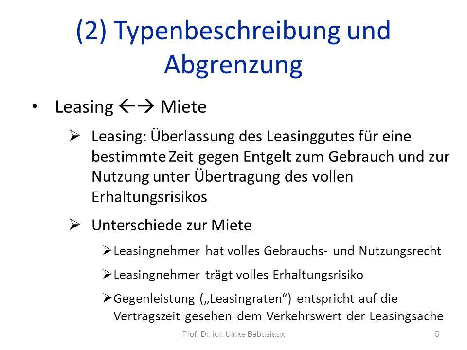 Leasing Miete Leasing: Überlassung des Leasinggutes für eine bestimmte Zeit gegen Entgelt zum Gebrauch und zur Nutzung unter Übertragung des vollen Er
