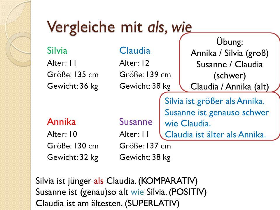 Vergleiche mit als, wie Silvia Alter: 11 Größe: 135 cm Gewicht: 36 kg Annika Alter: 10 Größe: 130 cm Gewicht: 32 kg Claudia Alter: 12 Größe: 139 cm Ge