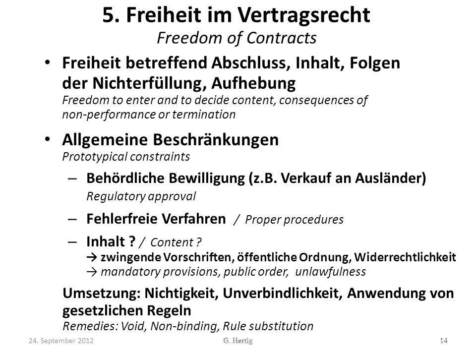 5. Freiheit im Vertragsrecht Freedom of Contracts Freiheit betreffend Abschluss, Inhalt, Folgen der Nichterfüllung, Aufhebung Freedom to enter and to
