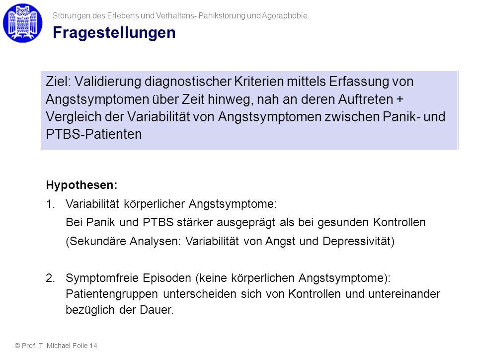 Fragestellungen Ziel: Validierung diagnostischer Kriterien mittels Erfassung von Angstsymptomen über Zeit hinweg, nah an deren Auftreten + Vergleich d