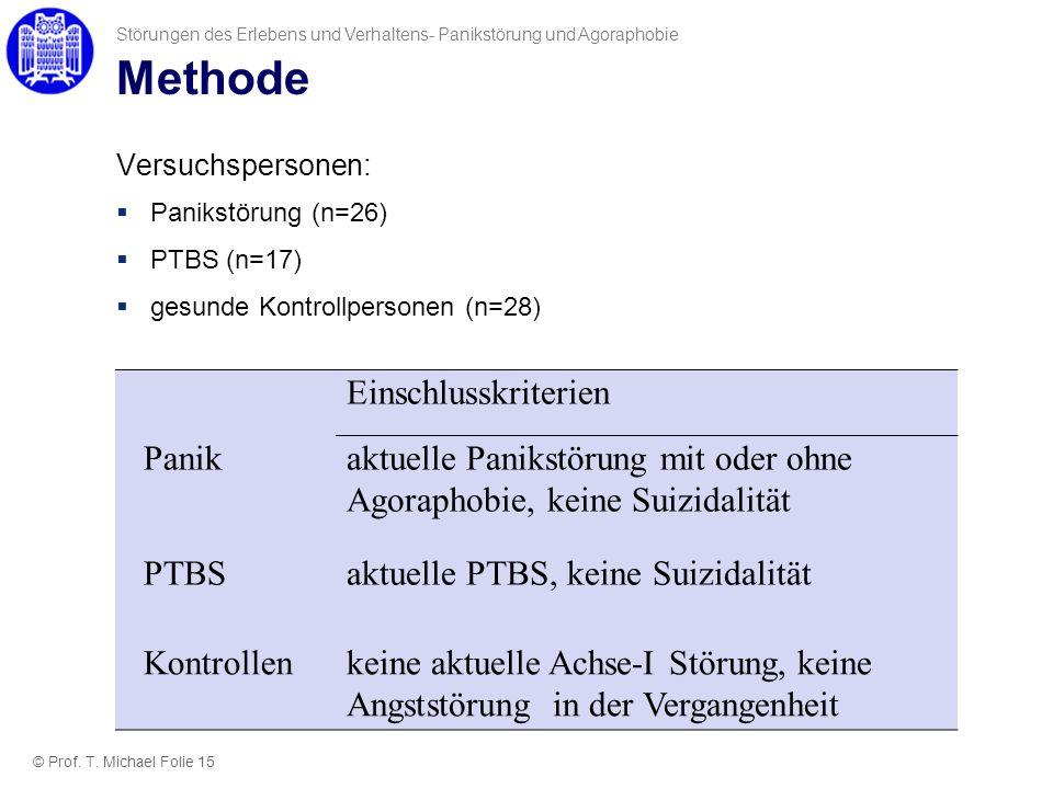 Methode Versuchspersonen: Panikstörung (n=26) PTBS (n=17) gesunde Kontrollpersonen (n=28) Störungen des Erlebens und Verhaltens- Panikstörung und Agor