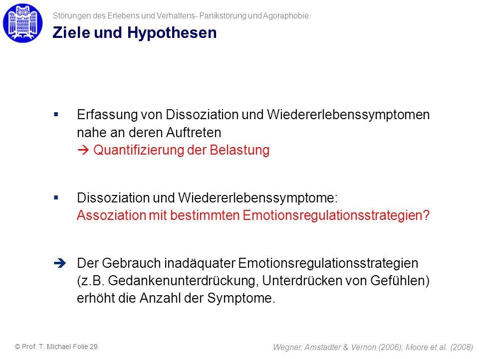 Ziele und Hypothesen Erfassung von Dissoziation und Wiedererlebenssymptomen nahe an deren Auftreten Quantifizierung der Belastung Dissoziation und Wie