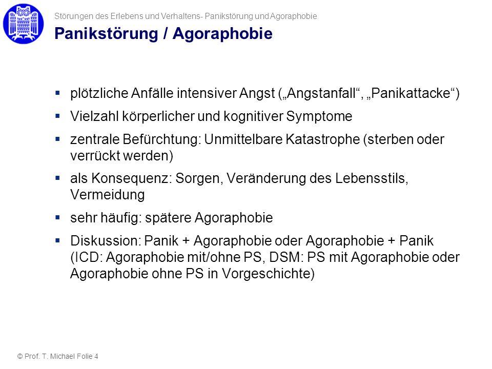 Panikstörung / Agoraphobie plötzliche Anfälle intensiver Angst (Angstanfall, Panikattacke) Vielzahl körperlicher und kognitiver Symptome zentrale Befü