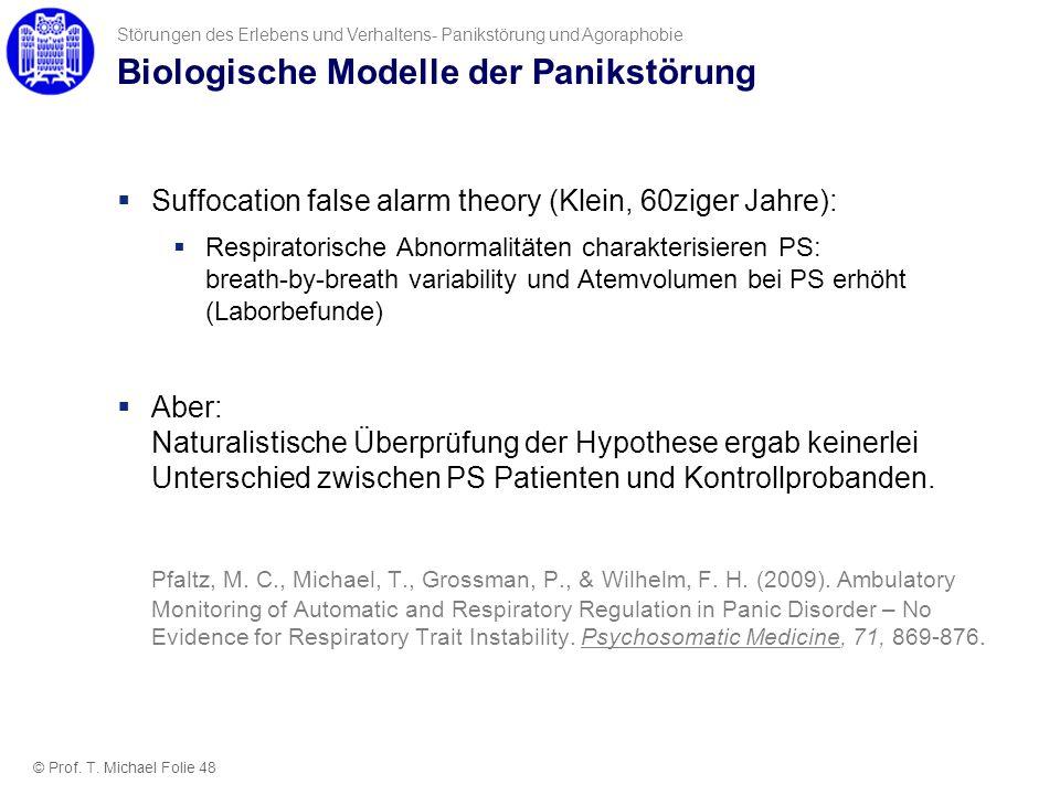 Biologische Modelle der Panikstörung Suffocation false alarm theory (Klein, 60ziger Jahre): Respiratorische Abnormalitäten charakterisieren PS: breath