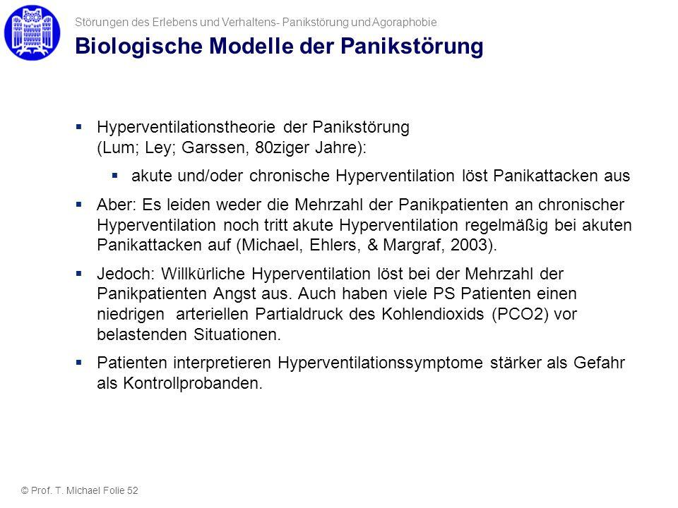Biologische Modelle der Panikstörung Hyperventilationstheorie der Panikstörung (Lum; Ley; Garssen, 80ziger Jahre): akute und/oder chronische Hypervent