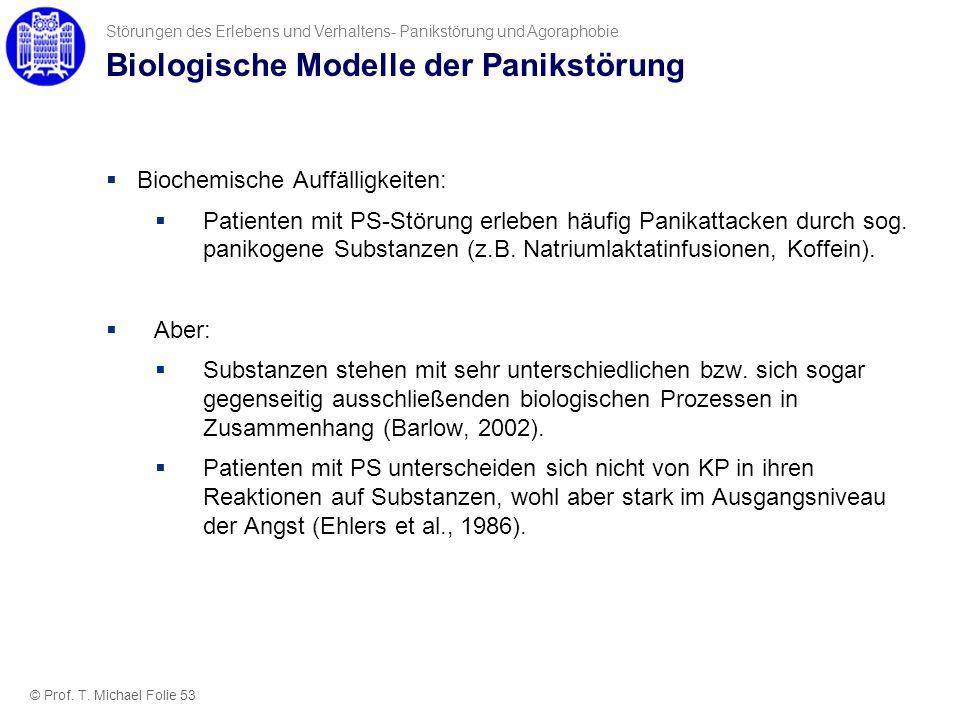 Biologische Modelle der Panikstörung Biochemische Auffälligkeiten: Patienten mit PS-Störung erleben häufig Panikattacken durch sog. panikogene Substan