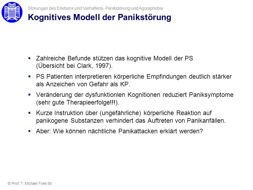 Kognitives Modell der Panikstörung Zahlreiche Befunde stützen das kognitive Modell der PS (Übersicht bei Clark, 1997). PS Patienten interpretieren kör