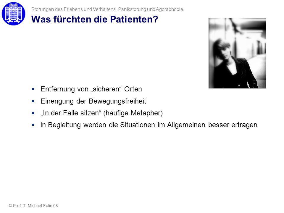 Was fürchten die Patienten? Entfernung von sicheren Orten Einengung der Bewegungsfreiheit In der Falle sitzen (häufige Metapher) in Begleitung werden
