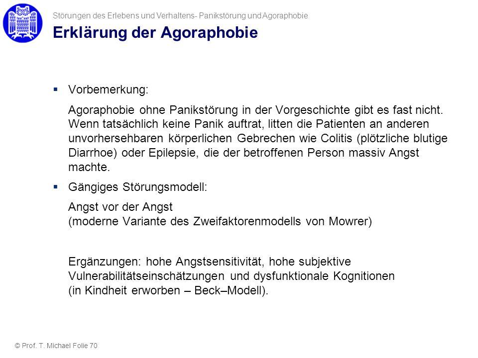 Erklärung der Agoraphobie Vorbemerkung: Agoraphobie ohne Panikstörung in der Vorgeschichte gibt es fast nicht. Wenn tatsächlich keine Panik auftrat, l