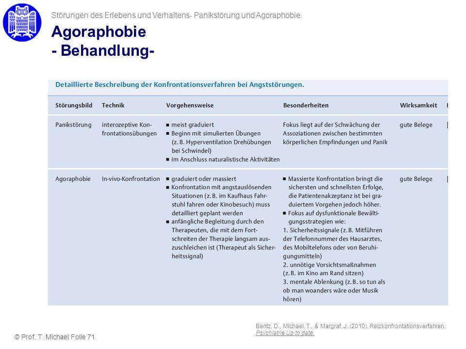 Agoraphobie - Behandlung- Störungen des Erlebens und Verhaltens- Panikstörung und Agoraphobie © Prof. T. Michael Folie 71 Bentz, D., Michael, T., & Ma
