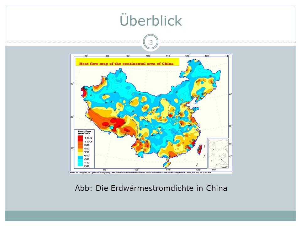 Überblick 3 Abb: Die Erdwärmestromdichte in China