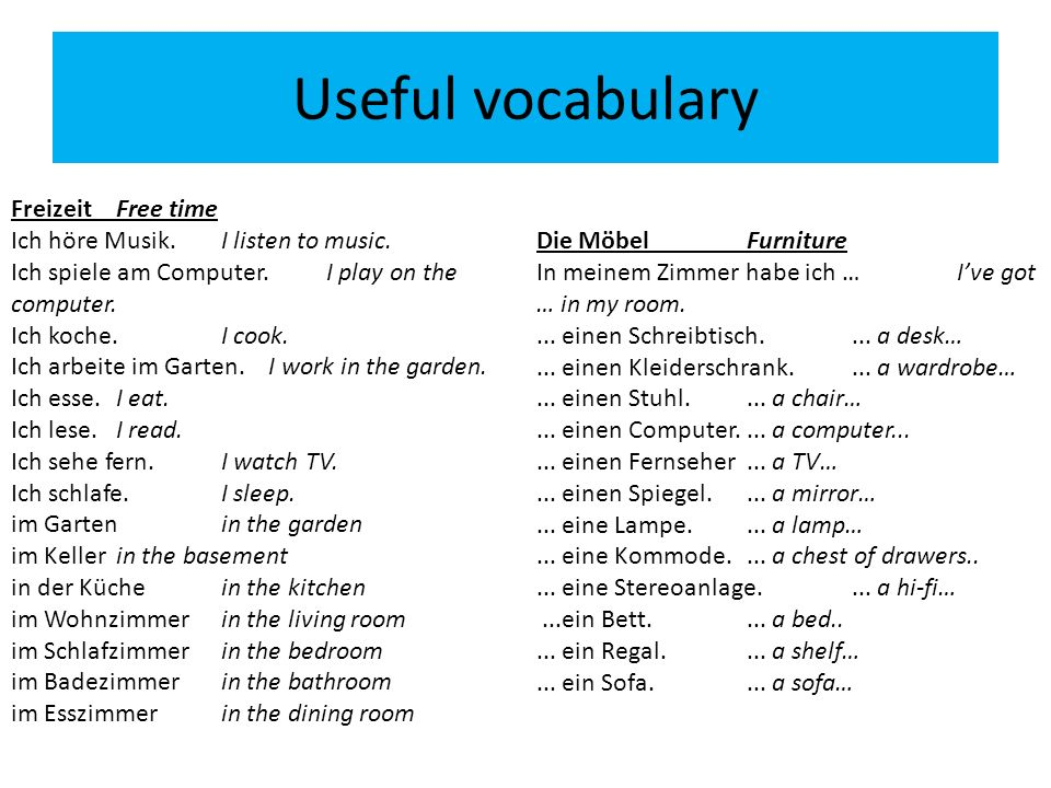 Useful vocabulary FreizeitFree time Ich höre Musik.I listen to music. Ich spiele am Computer.I play on the computer. Ich koche.I cook. Ich arbeite im