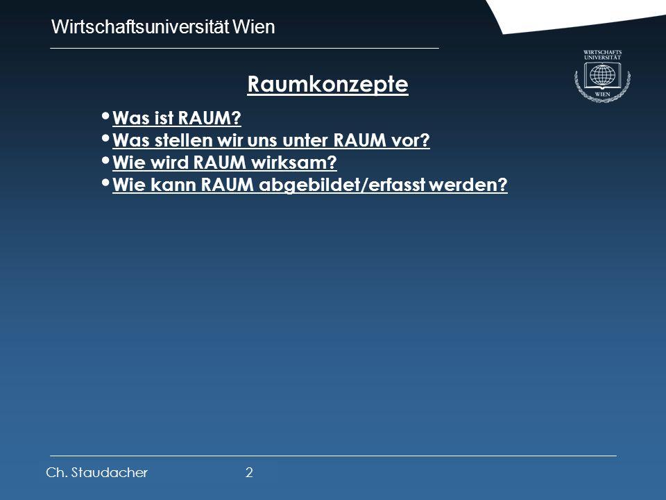 Wirtschaftsuniversität Wien Platz für Logos oder Links Raum – Standort – Netze - Regionalsysteme Ch. Staudacher1 Raumkonzepte Räume - Raumbegriffe: St