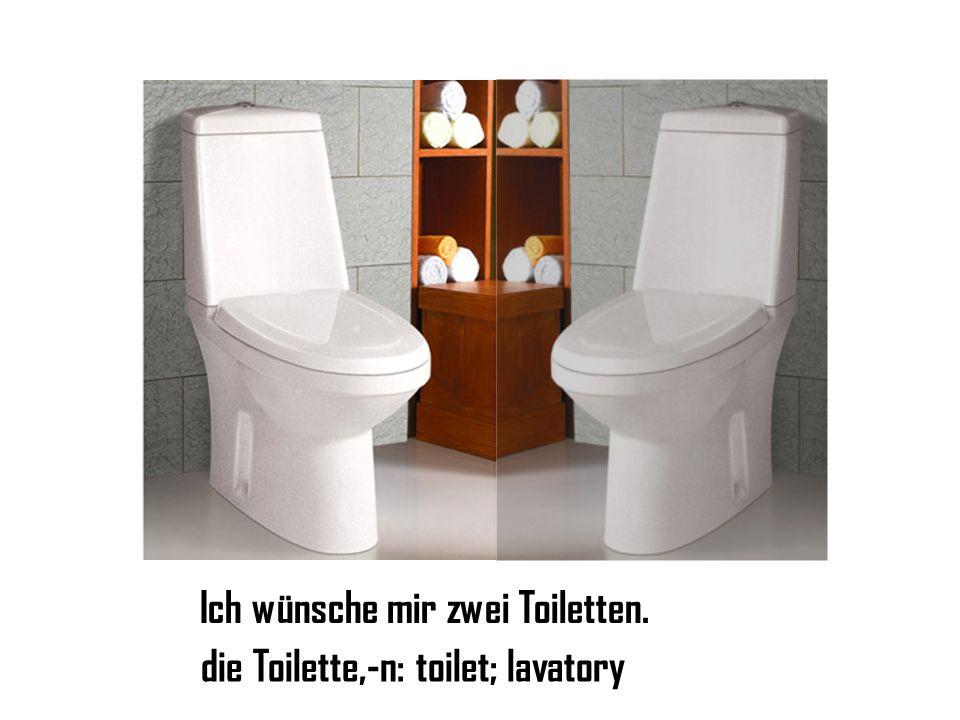 Ich wünsche mir zwei Toiletten. die Toilette,-n: toilet; lavatory