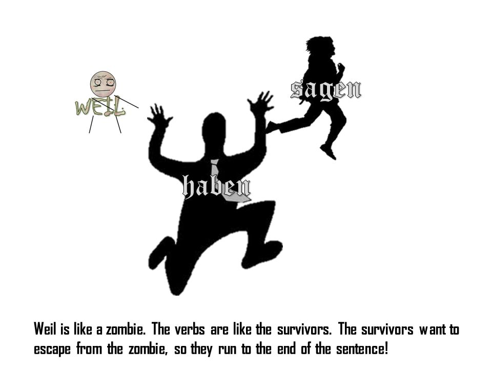 Weil is like a zombie. The verbs are like the survivors.
