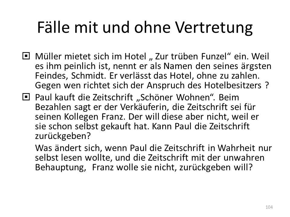 Fälle mit und ohne Vertretung Müller mietet sich im Hotel Zur trüben Funzel ein. Weil es ihm peinlich ist, nennt er als Namen den seines ärgsten Feind