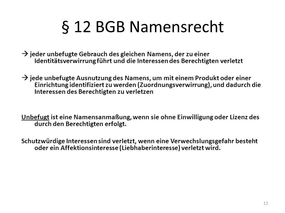 § 12 BGB Namensrecht jeder unbefugte Gebrauch des gleichen Namens, der zu einer Identitätsverwirrung führt und die Interessen des Berechtigten verletz