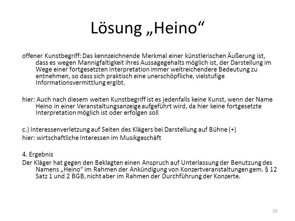 Lösung Heino offener Kunstbegriff: Das kennzeichnende Merkmal einer künstlerischen Äußerung ist, dass es wegen Mannigfaltigkeit ihres Aussagegehalts m