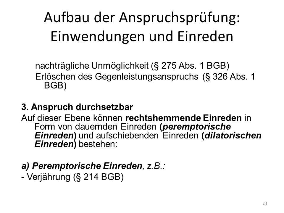 Aufbau der Anspruchsprüfung: Einwendungen und Einreden nachträgliche Unmöglichkeit (§ 275 Abs. 1 BGB) Erlöschen des Gegenleistungsanspruchs (§ 326 Abs