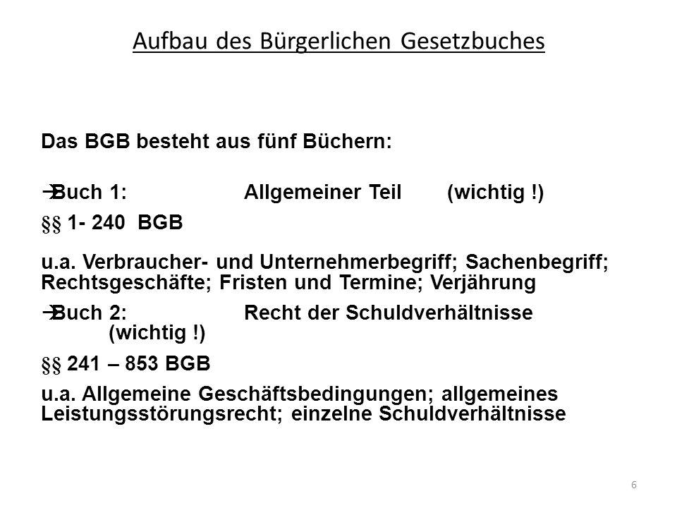 Aufbau des Bürgerlichen Gesetzbuches Das BGB besteht aus fünf Büchern: Buch 1:Allgemeiner Teil(wichtig !) §§ 1- 240 BGB u.a. Verbraucher- und Unterneh