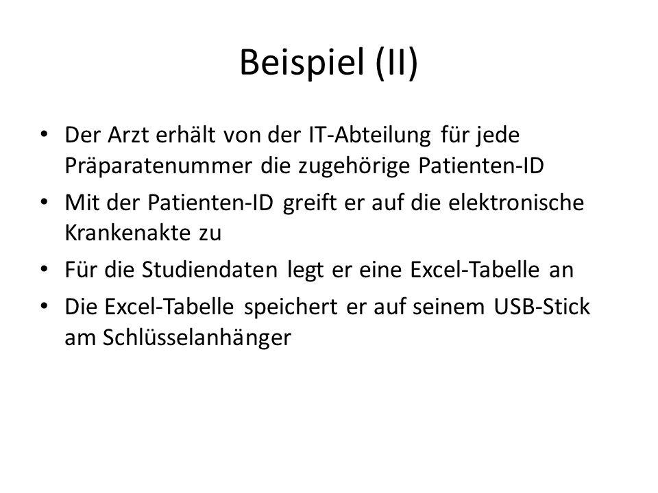 Beispiel (II) Der Arzt erhält von der IT-Abteilung für jede Präparatenummer die zugehörige Patienten-ID Mit der Patienten-ID greift er auf die elektro