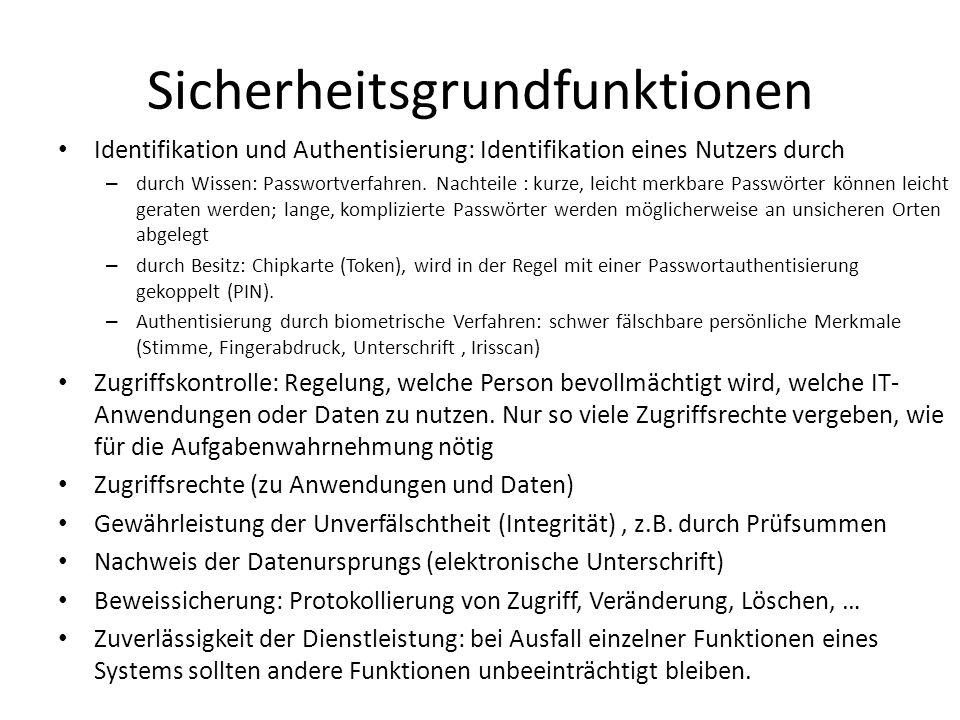 Sicherheitsgrundfunktionen Identifikation und Authentisierung: Identifikation eines Nutzers durch – durch Wissen: Passwortverfahren. Nachteile : kurze