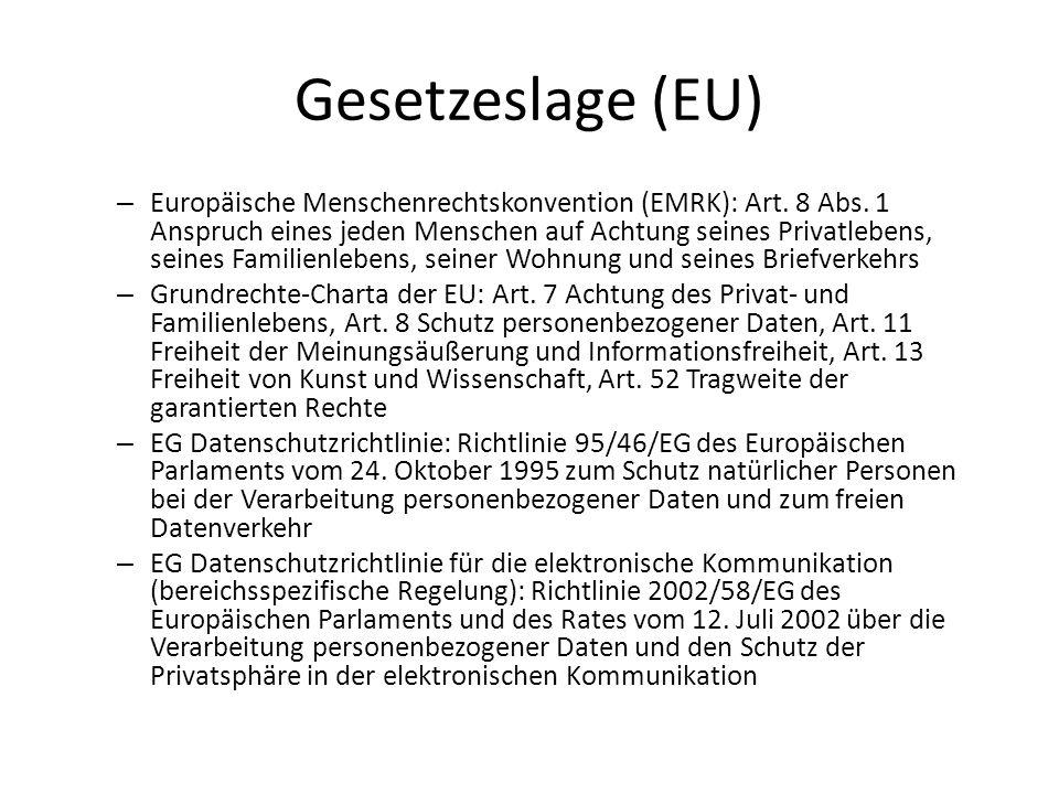 Gesetzeslage (EU) – Europäische Menschenrechtskonvention (EMRK): Art. 8 Abs. 1 Anspruch eines jeden Menschen auf Achtung seines Privatlebens, seines F