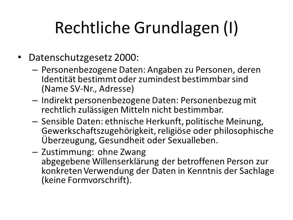 Rechtliche Grundlagen (I) Datenschutzgesetz 2000: – Personenbezogene Daten: Angaben zu Personen, deren Identität bestimmt oder zumindest bestimmbar si