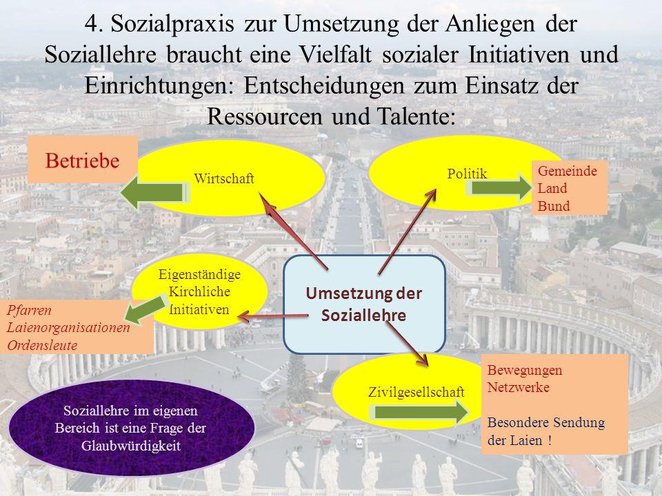 4. Sozialpraxis zur Umsetzung der Anliegen der Soziallehre braucht eine Vielfalt sozialer Initiativen und Einrichtungen: Entscheidungen zum Einsatz de