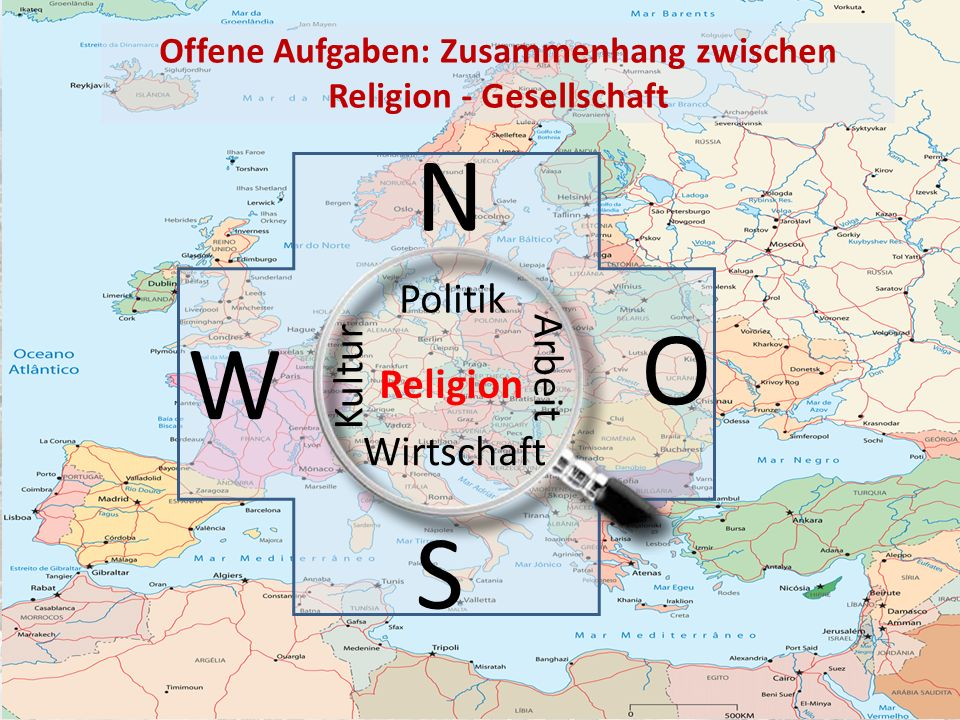 W O S N Arbeit Kultur Wirtschaft Politik Religion Offene Aufgaben: Zusammenhang zwischen Religion - Gesellschaft