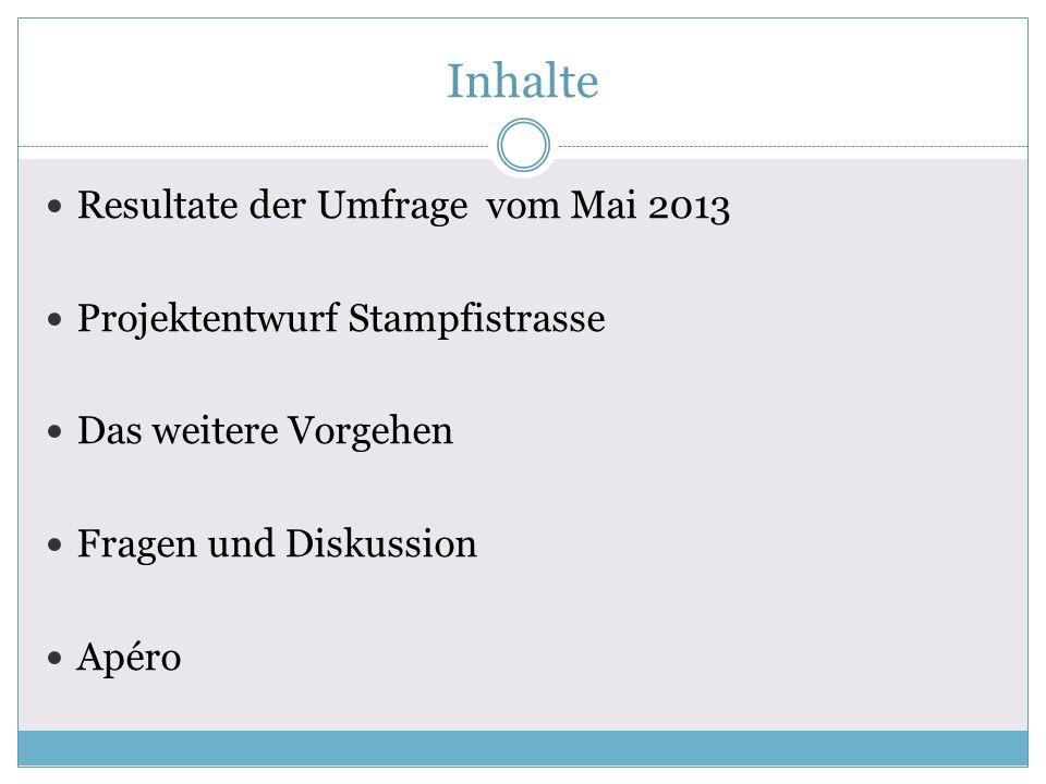 Inhalte Resultate der Umfrage vom Mai 2013 Projektentwurf Stampfistrasse Das weitere Vorgehen Fragen und Diskussion Apéro