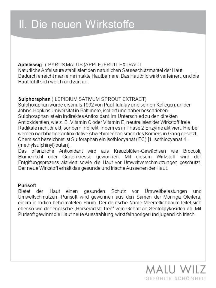 II. Die neuen Wirkstoffe Apfelessig ( PYRUS MALUS (APPLE) FRUIT EXTRACT Natürliche Apfelsäure stabilisiert den natürlichen Säureschutzmantel der Haut.