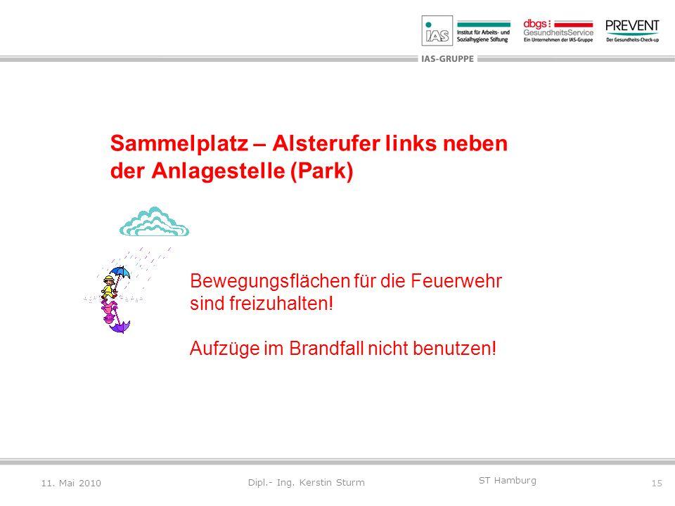 15 ST Hamburg Dipl.- Ing. Kerstin Sturm Sammelplatz – Alsterufer links neben der Anlagestelle (Park) Bewegungsflächen für die Feuerwehr sind freizuhal