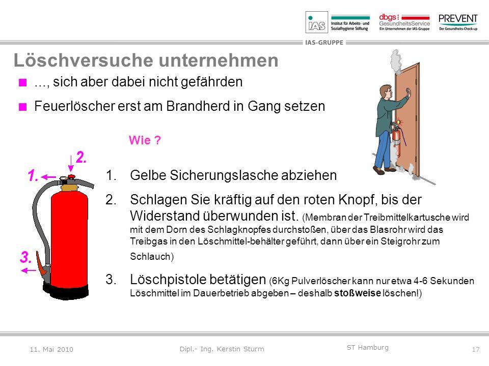17 ST Hamburg Dipl.- Ing. Kerstin Sturm Löschversuche unternehmen..., sich aber dabei nicht gefährden. Feuerlöscher erst am Brandherd in Gang setzen 1
