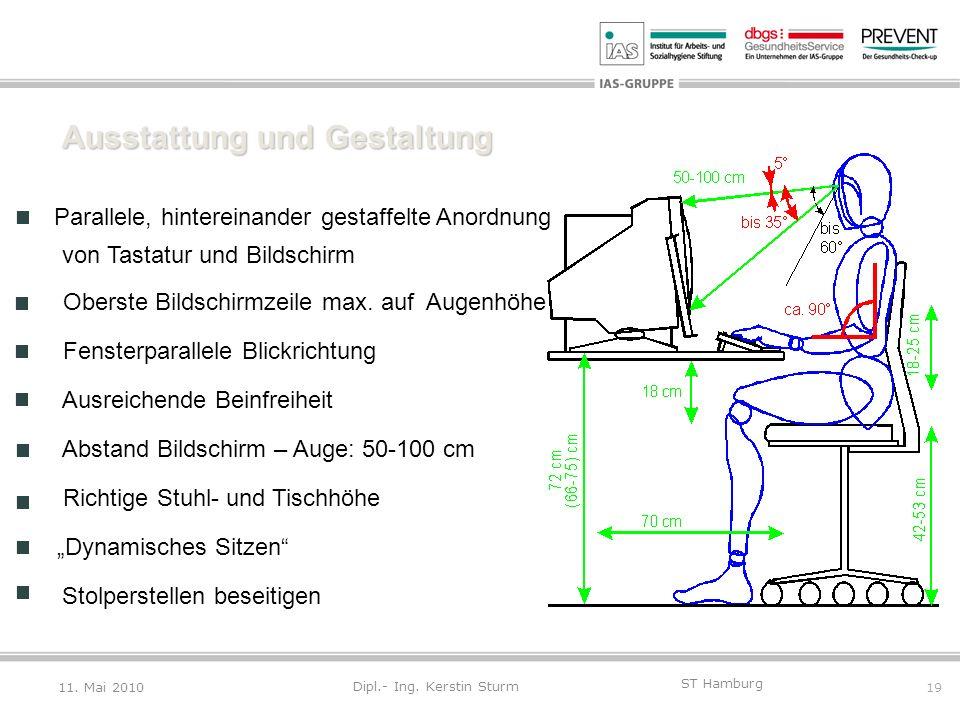 19 ST Hamburg Dipl.- Ing. Kerstin Sturm Ausstattung und Gestaltung Parallele, hintereinander gestaffelte Anordnung von Tastatur und Bildschirm Oberste