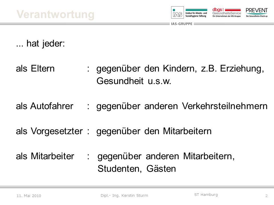 2 ST Hamburg Dipl.- Ing. Kerstin Sturm Verantwortung... hat jeder: als Eltern:gegenüber den Kindern, z.B. Erziehung, Gesundheit u.s.w. als Autofahrer: