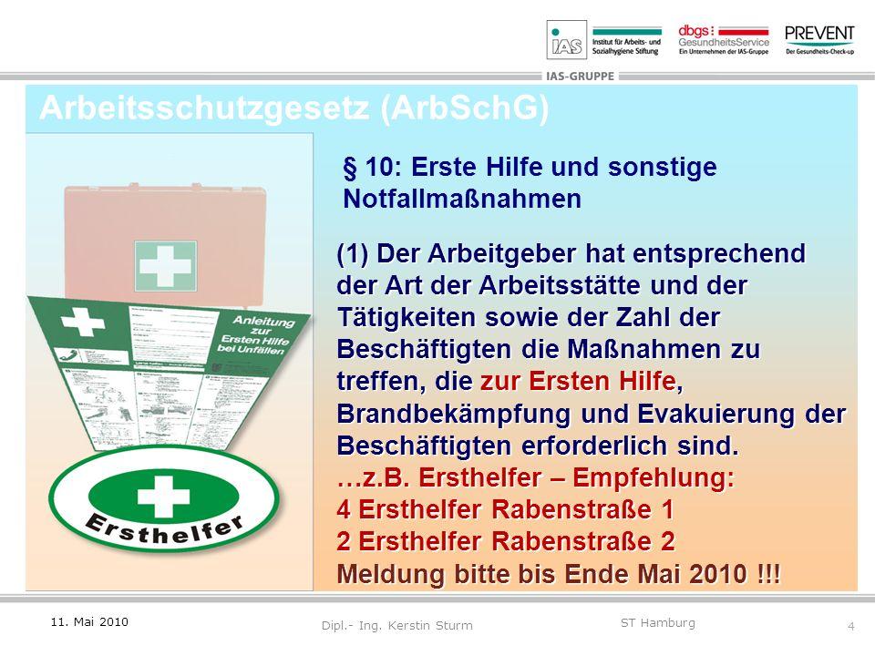 4 ST Hamburg Dipl.- Ing. Kerstin Sturm (1) Der Arbeitgeber hat entsprechend der Art der Arbeitsstätte und der Tätigkeiten sowie der Zahl der Beschäfti