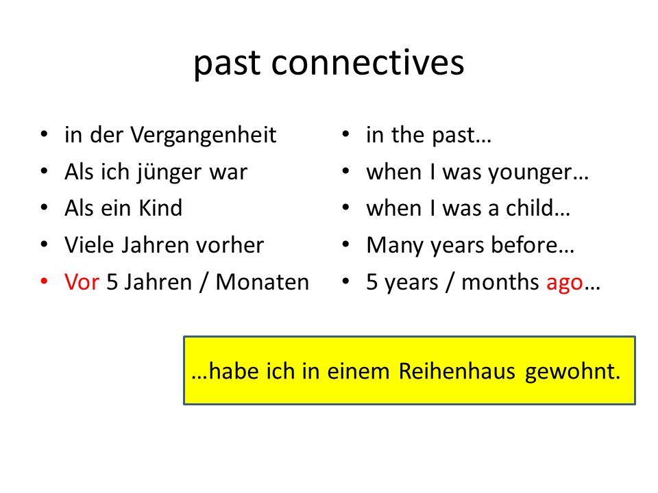 past connectives in der Vergangenheit Als ich jünger war Als ein Kind Viele Jahren vorher Vor 5 Jahren / Monaten in the past… when I was younger… when