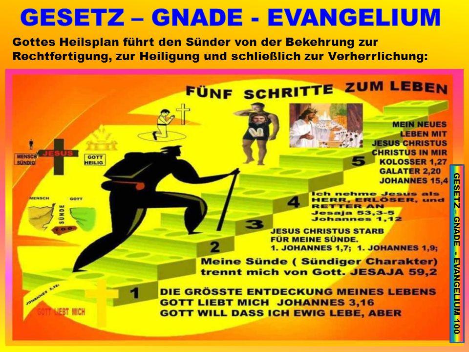 Gottes Heilsplan führt den Sünder von der Bekehrung zur Rechtfertigung, zur Heiligung und schließlich zur Verherrlichung: GESETZ – GNADE - EVANGELIUM 100